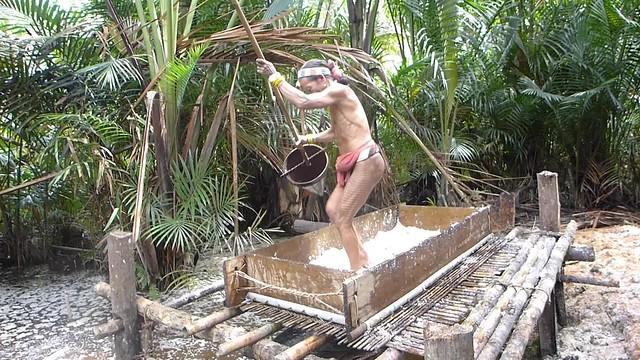 Shaman demonstrates the washing of the sago palm fibre.