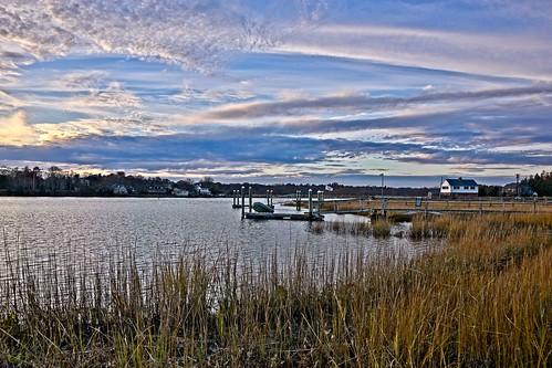 d610 barrington tamron28300xrdiif rhodeisland dock ononesoftware on1photoraw2018 sunsetlight nikviveza cacorrection viewnx2 nikoutputsharpener clouds landscape latelight latefall reeds house