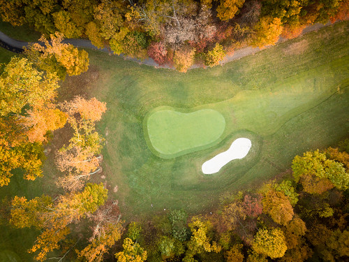 dji drone morning sunrise mountairy maryland unitedstates us mavicpro golf fall autumn golfcourse trees bunker landscape grass leaves outside green sun light