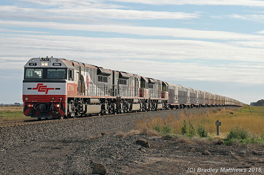 SCT006-SCT010-SCT001 with 5PM9 up SCT freight from Perth to Laverton (Melbourne) near Cressy (5/7/2015) by Bradley Matthews