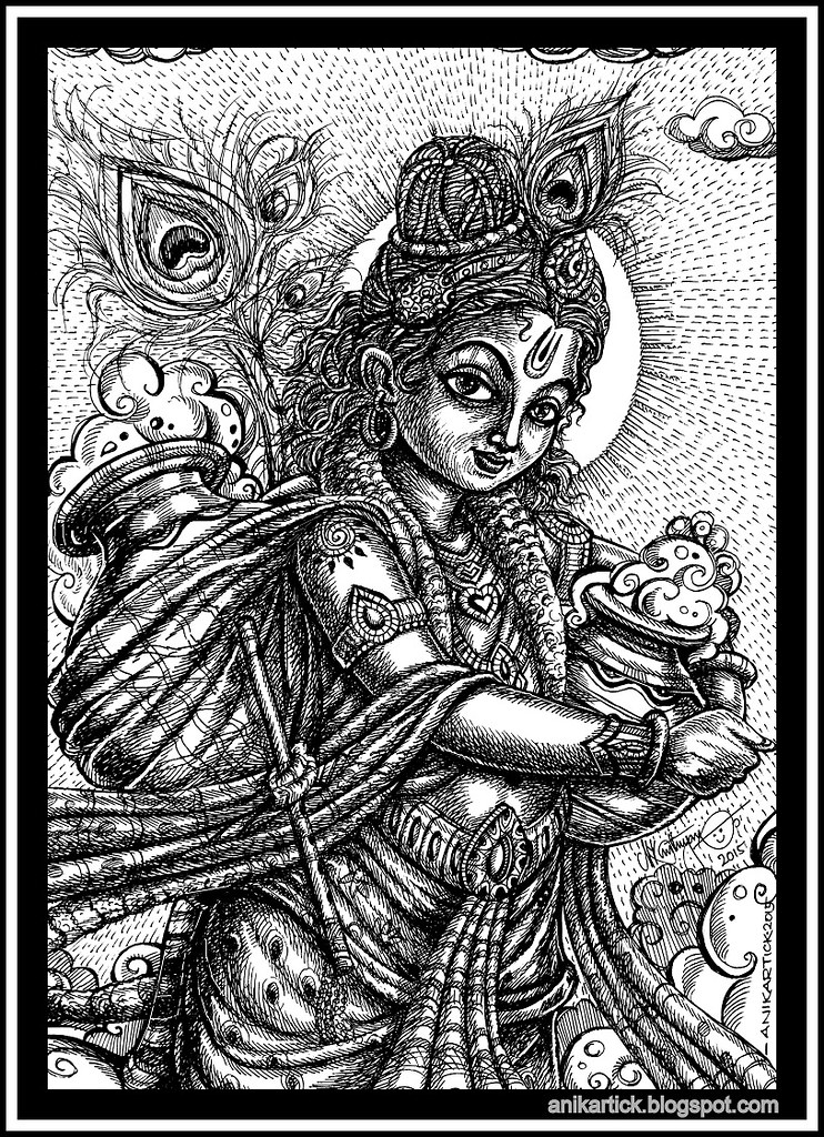Little Krishna takes the clouds of butter Pot-Anikartick A