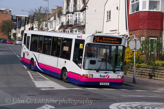 First Essex Hadleigh Dennis Dart / Marshall Capital 41761, X761 HLR on route 24 before curtailment at Grand Drive, Chalkwell