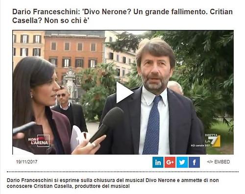 ROMA ARCHEOLOGICA & RESTAURO ARCHITETTURA: Dario Franceschini: 'Divo Nerone? Un grande fallimento. Critian Casella? Non so chi è', Nathalie Naim | FACEBOOK & LA 7 TV (19/11/2017) & NYTIMES (09/06/2017).