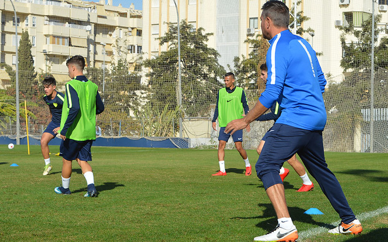 Malaga coach Manel Ruano is active as he leads a training session