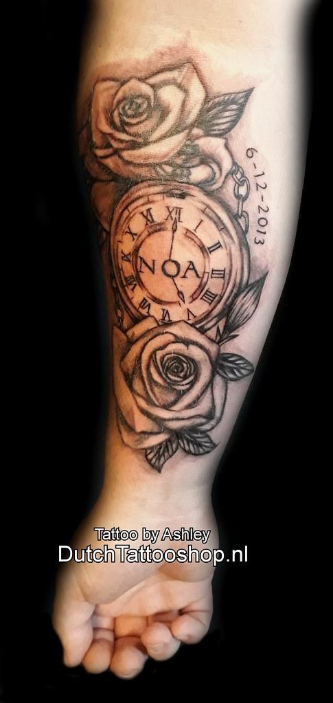 Arm Onderarm Tattoo Noa Roos Rose Clock Klok Name Naam Flickr