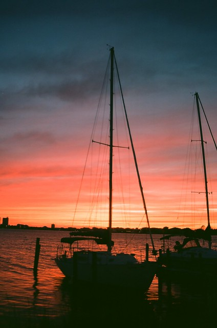 sunset and sailboats - 35mm