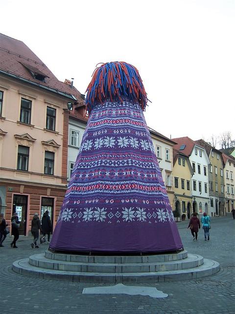 Sculpture of a giant bobble hat - Ljubljana