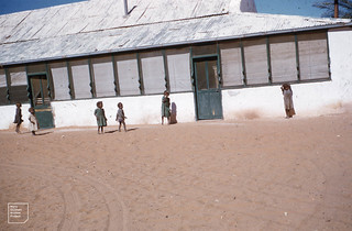 Shy native infants at the Hermannsburg mission. Northern Territory