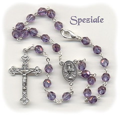 Luster Transparent Amethyst Glass Car Rosary