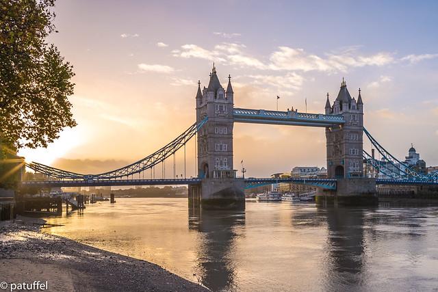 Tower Bridge during sunrise - London, England