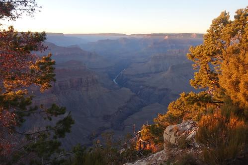 Sunset along the trail to Pima Point, Grand Canyon National Park, Arizona