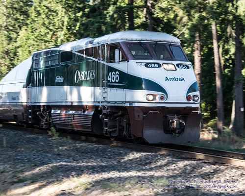 Northbound Morning Amtrak Cascades Passing Through Marysville