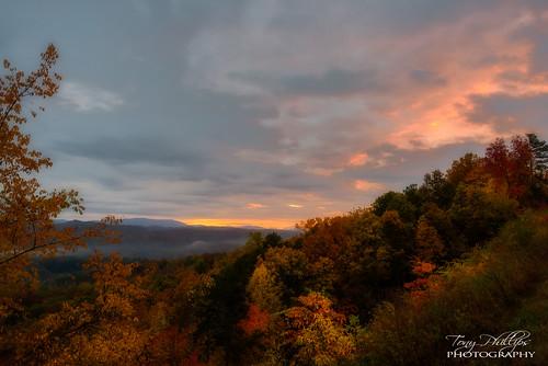 foothillsparkway gsmnp greatsmokymountainsnationalpark smokymountains tennessee autumn fall fallcolor landscape nature outdoors scenery sunset