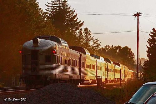 passengertrain domecar amtrakexcursion sp4449 hotday june sunset glint heat