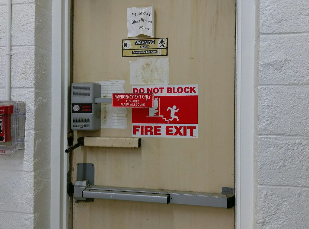 Old Wal Mart Relics Abound On The Back Fire Exit Door