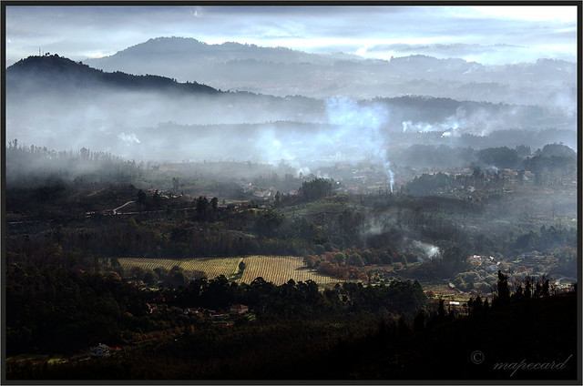 Burns (queimadas), area of Ponte de Lima, Portugal, seen from Serra d'Arga.