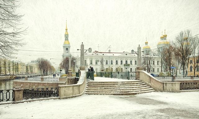 The Krasnogvardeysky bridge in Saint Petersburg.