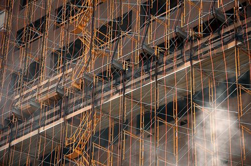 Coloured scaffolding near Greenwich Village, New York, USA | by John Briody Photography