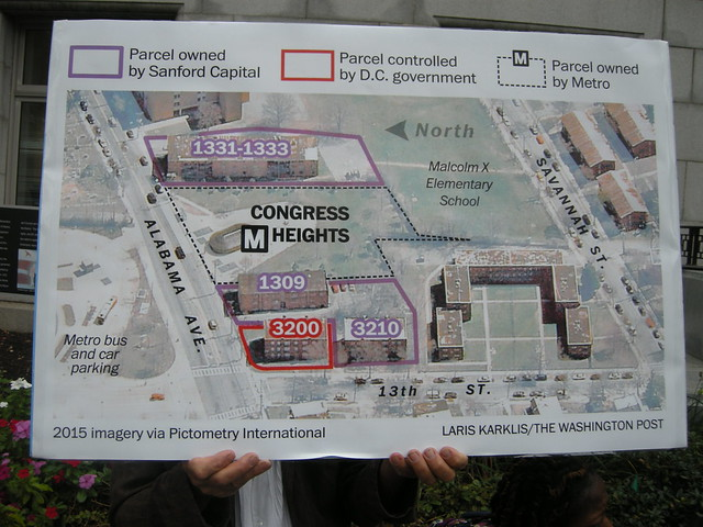 Digital map illustrating the properties on either side of Congress HEights Metro station along Alabama Avenue. A purple line is used to highlight those owned by the compan Sanford Capital and a red line is used to highlight one owned by the D.C. government. The credit reads