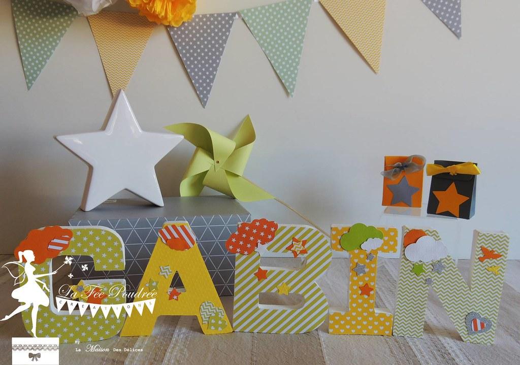 lettres prenom decoration chambre enfant orange vert jaune ...