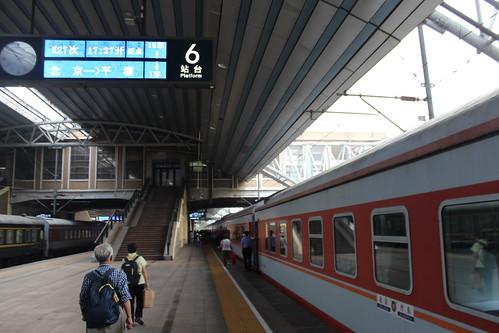 Train Beijing-Dandong-Pyongyang at Beijing train station   by Timon91