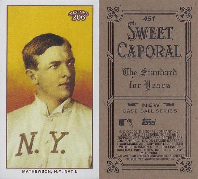 2002 / 2003 - Topps 206 Mini Baseball Card / Series 3 / Sweet Caporal Black - CHRISTY MATHEWSON / REP #451 (Pitcher) (Baseball Hall of Fame 1936) (New York Giants)