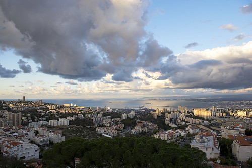 haifa landscape clouds city cityscape panorama sea mediterraniansea seascape sunset bay haifabay skyline urbanlandscape sky