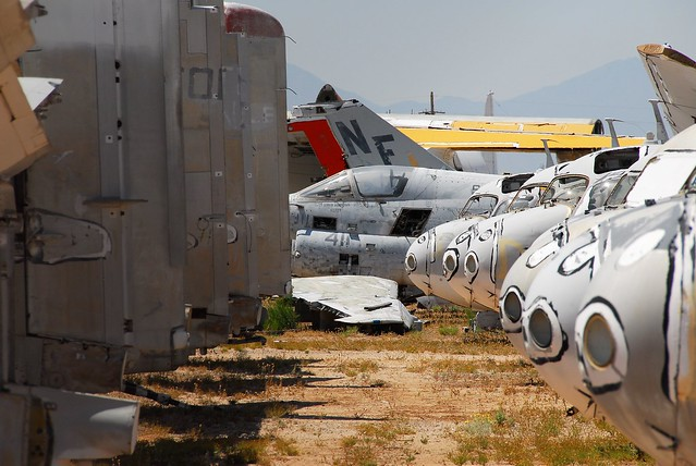 Closed in by Grumman S-2 Tracker aircraft. Ex U.S.Navy A-7E Corsair-II coded 411 (BuNo 159281). Stored, Tucson, United Aeronautical Corporation/ UAC, Arizona. 5 June 2016.