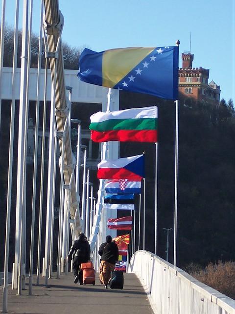Flags on bridge over the Danube