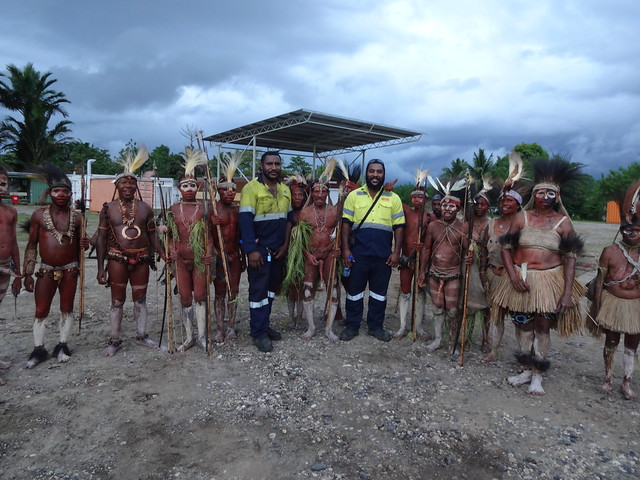 Gordon (left) and Kevin (Right) with the Papua New Guinea Western Province traditional dancers