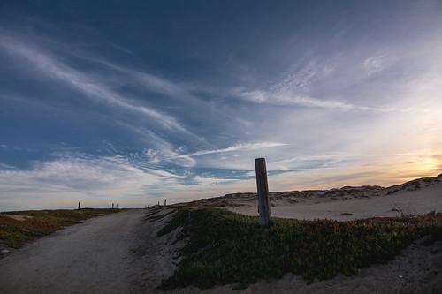 nikon308 sandcity california dunes landscape post sky clouds dawn sunrise blue orange iceplant sand color 2017