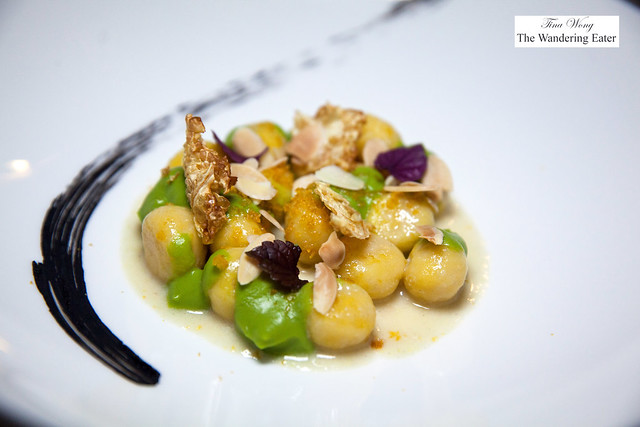 Cauliflower gnocchi with brussels sprouts purée and almonds
