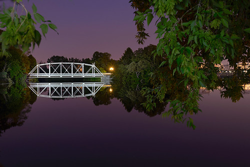 bridge lightpainting water night landscape purple ottawa