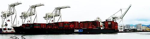harbor dock container vessel transport freighter alameda sea zim portofoakland oakland port cargoship crane cargo ship