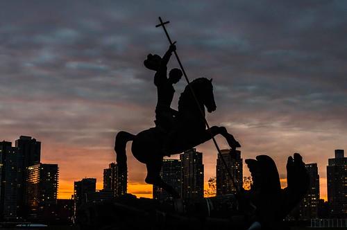 new york united nations george stgeorge dragon statue sunrise manhattan skykraper light nikon d800 backlight