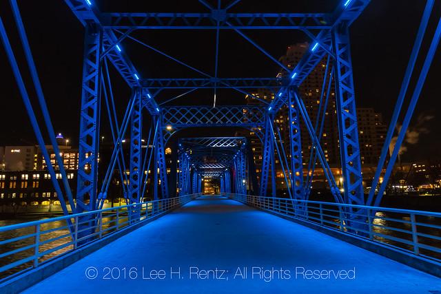 On the Blue Bridge at Night in Grand Rapids