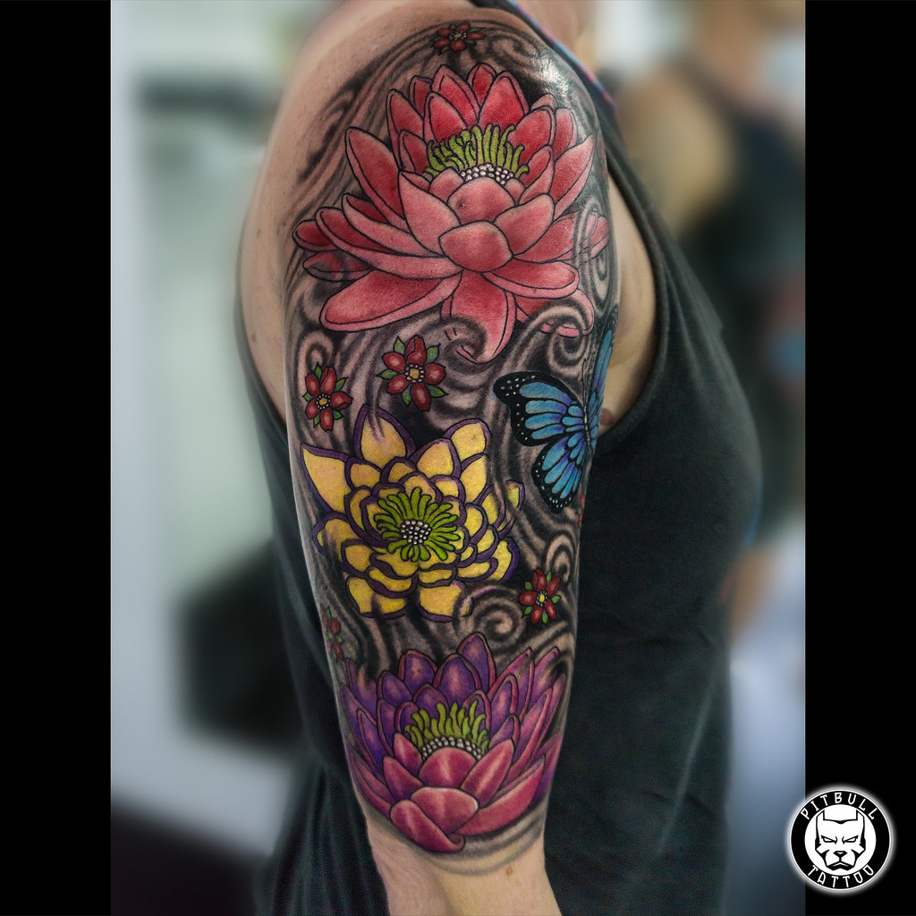 Flowers Tattoo Color Done Pitbull Tattoo Thailand Flickr