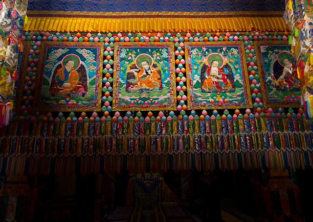 Sewed thangka in Shachong monastery, Qinghai Province, Wayaotai, China