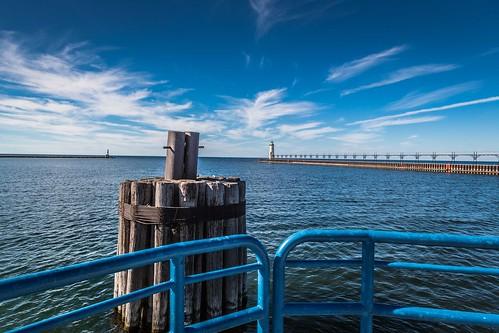 michigan puremichigan lighthouse manistee lake water blue