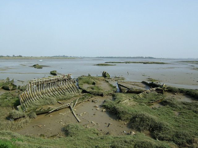 Ruined boats beside the Blackwater at Maldon
