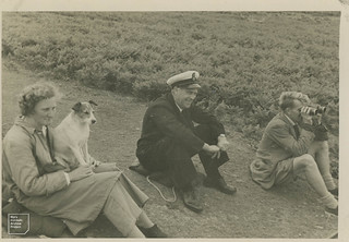 Peter Conder, Tom Jenkins, the author [Mary] and Nell at lighthouse, 1950