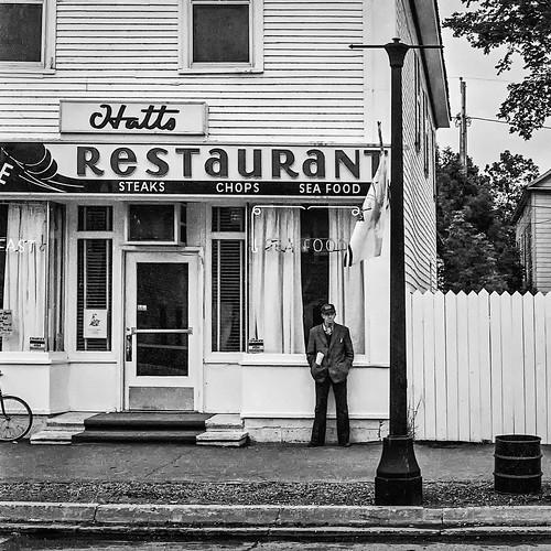 bw blackwhite blackandwhite film hatts ilfordfp4 man monochrome restaurant streetphotography saintandrews newbrunswick canada ca
