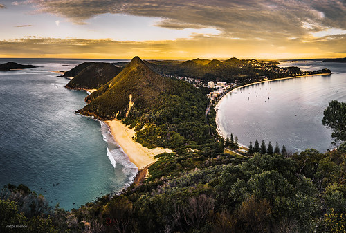 newsouthwales mountain mounttomaree sunrise panorama coast australia shoalbay au