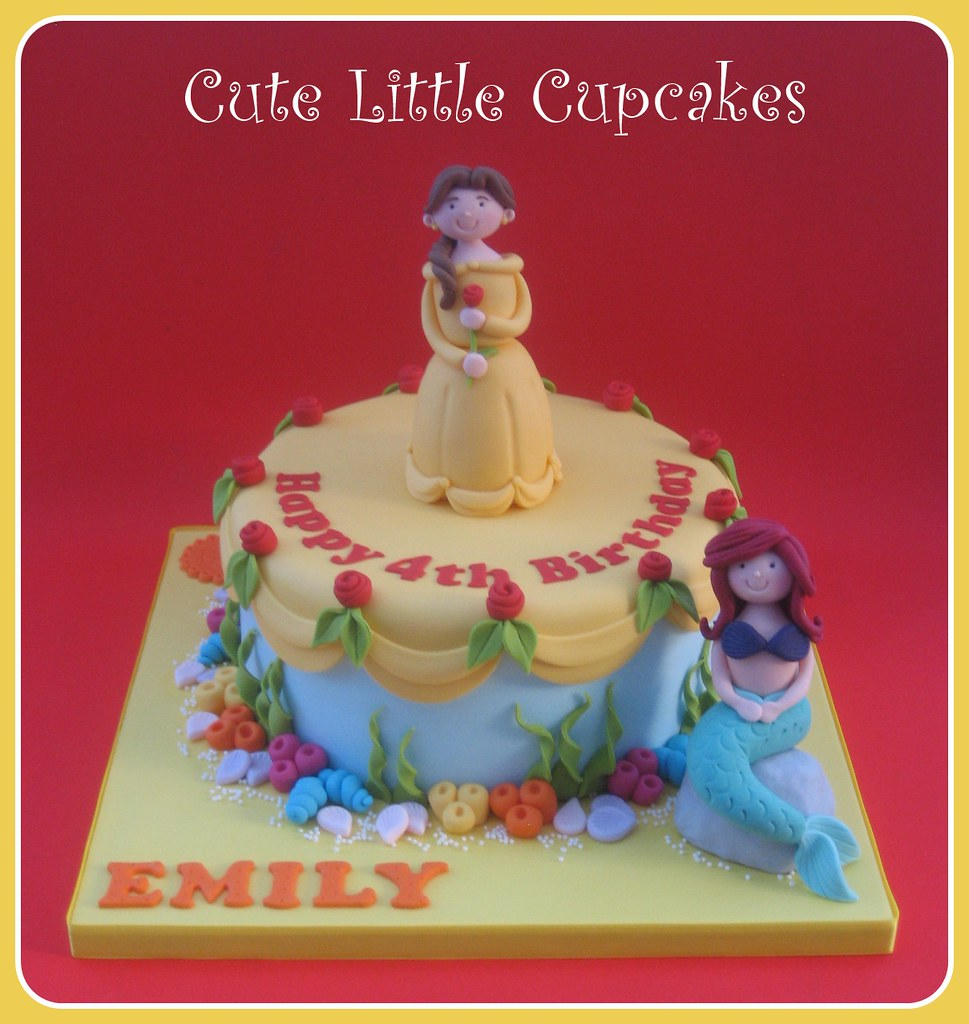 Amazing Belle Ariel Birthday Cake Heidi Stone Flickr Funny Birthday Cards Online Alyptdamsfinfo