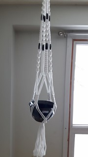 Large plant hanger, white cord with black wood tube beads, 120 cm long, $20.00 | by Life of K Blog