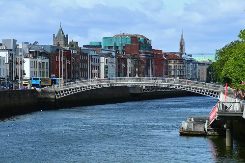 cruise2017norwayicelandireland europe ireland dublin outdoor cityview river bridge riverliffey hapennybridge cloudysky water simplysuperb greatphotographers