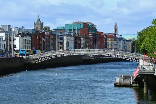 cruise2017norwayicelandireland europe ireland dublin outdoor cityview river bridge riverliffey hapennybridge cloudysky water simplysuperb greatphotographers