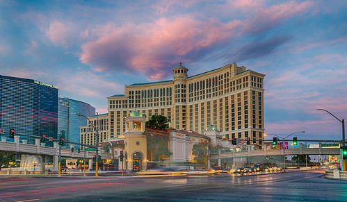 bellagiohotelandcasino flamingoroad hdr lasvegas lasvegasstrip nevada nikon nikond5300 outdoor thecosmopolitan architecutre car cars clouds geotagged hotel intersection lighttrails lights longexposure morning road sky street sunrise trafficlights unitedstates