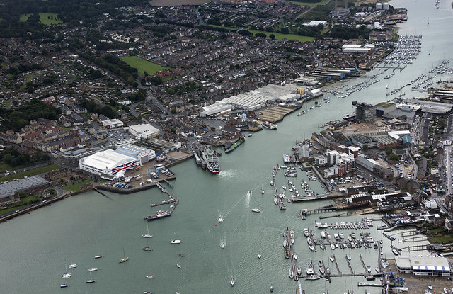 Cowes on the River Medina - Isle of Wight UK aerial image