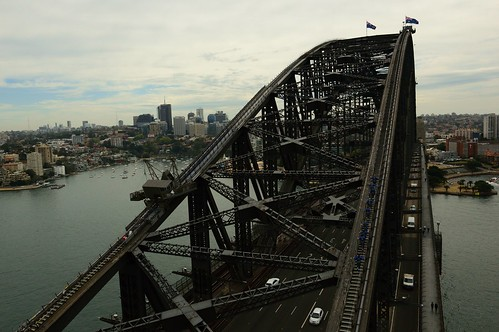 climb australia sydney people view city cityview cityscape harbourbridge bridges cars ses ocean point flags pylon lookout white sea oceania bridge